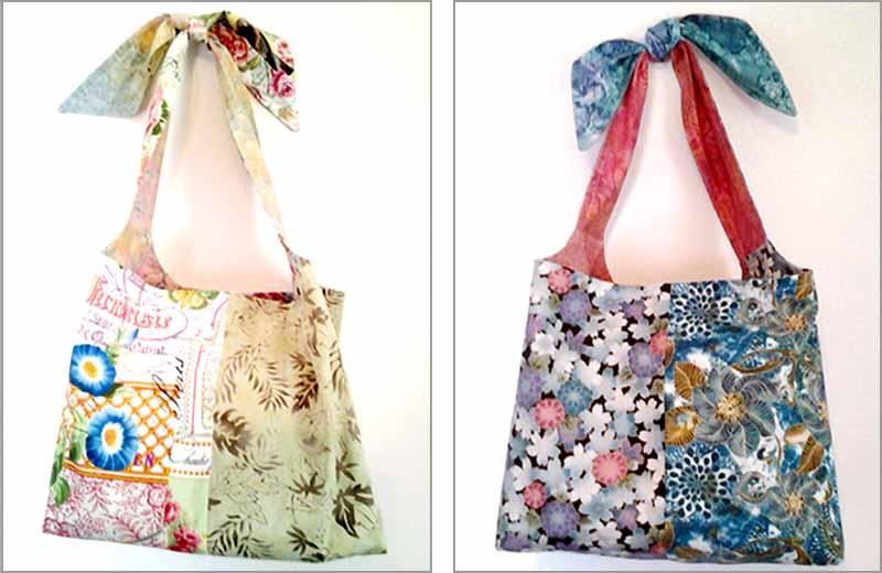 image of batik fabric DIY Reversible Hobo Bag