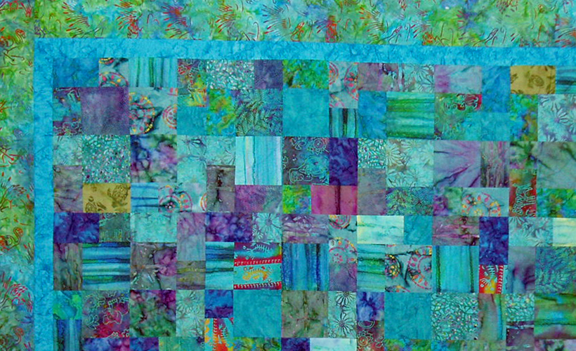 photo of Abstract 4-Patch with Flamingo Border