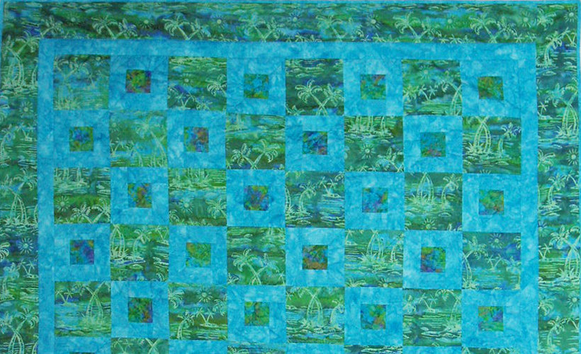 photo of Batik Quilt with Three Fabrics
