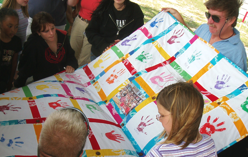 Memory Stash Quilt with Student Handprints