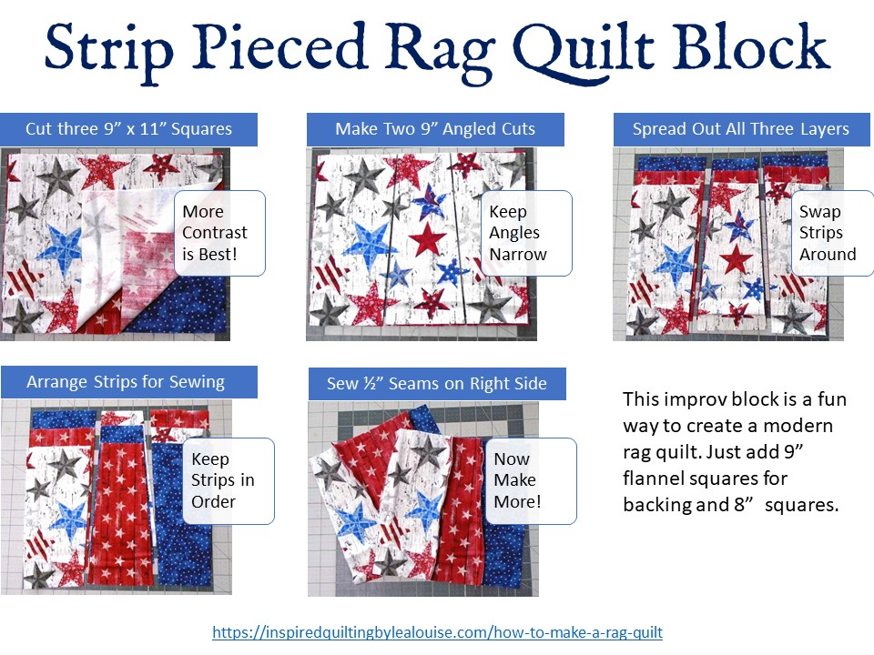 image of rag quilt block tutorial page