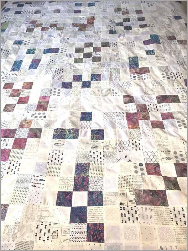 image of Batik & Low Volume Patchwork quilt by Coleen