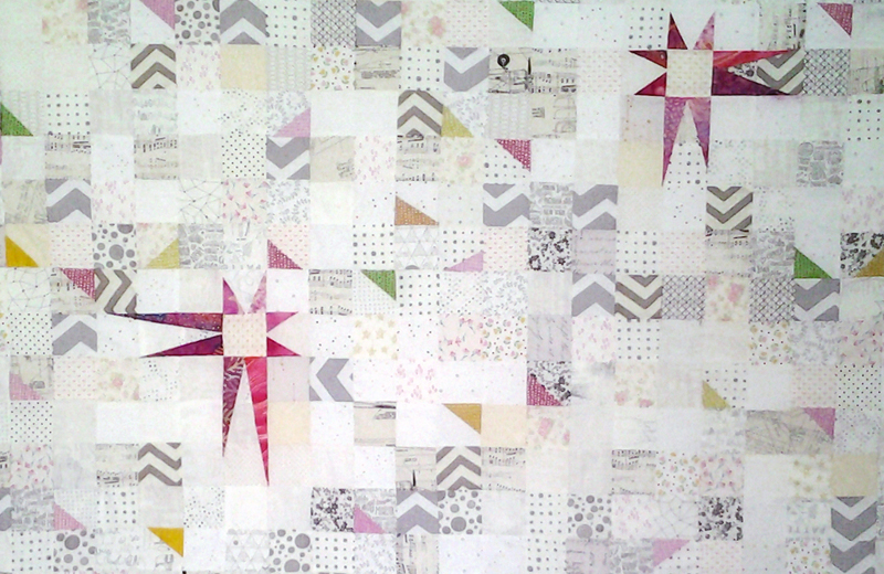 photo Wonky Stars & Corners low volume baby quilt