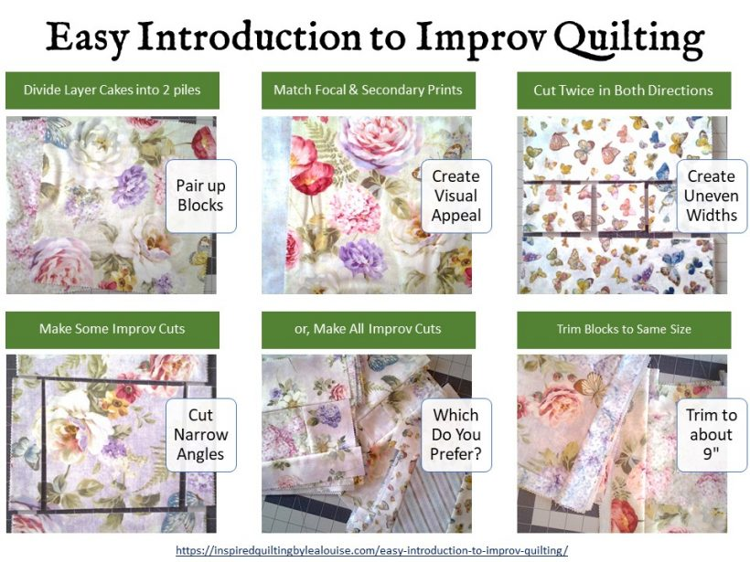 image of Easy Introduction to Improv Quilting Layer Cakes Tutorial