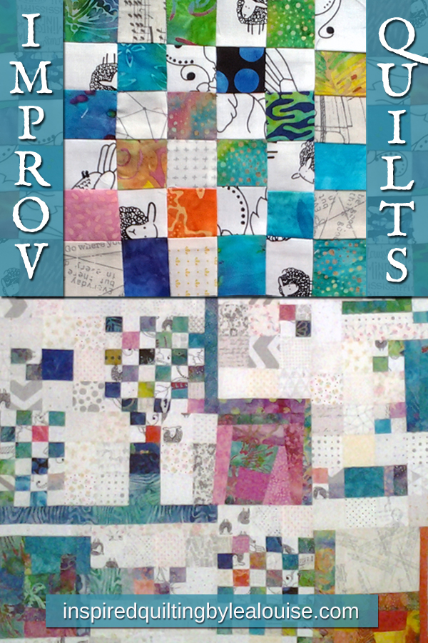 Photo improv low volume & batik 36-patch quilt block pinterest pin