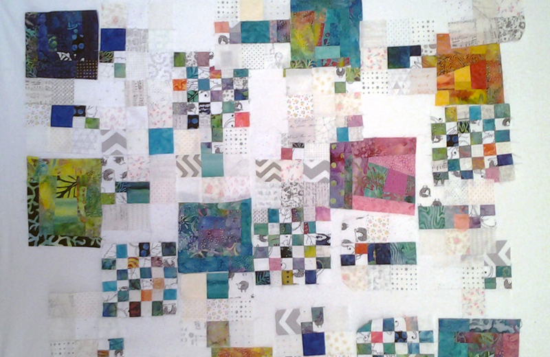 Photo of improv quilt layout