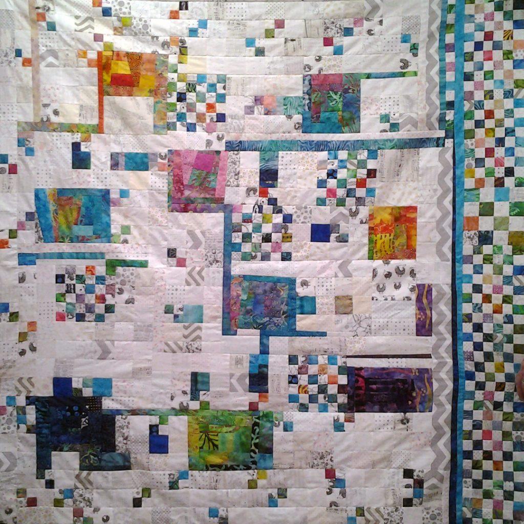 Photo fo low volume quilt wBatik Fabrics