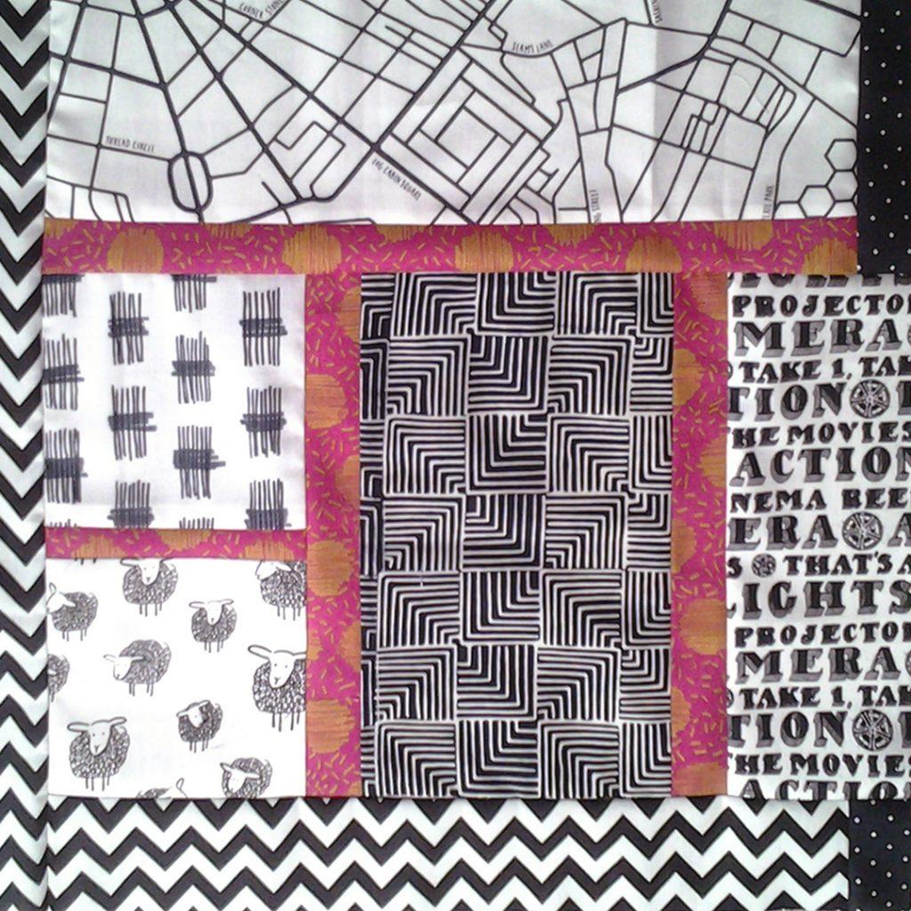 Easy Modern Quilt Block_Modern Black & White Quilt Block_Modern Black, White & Pink Batik Baby Quilt Block