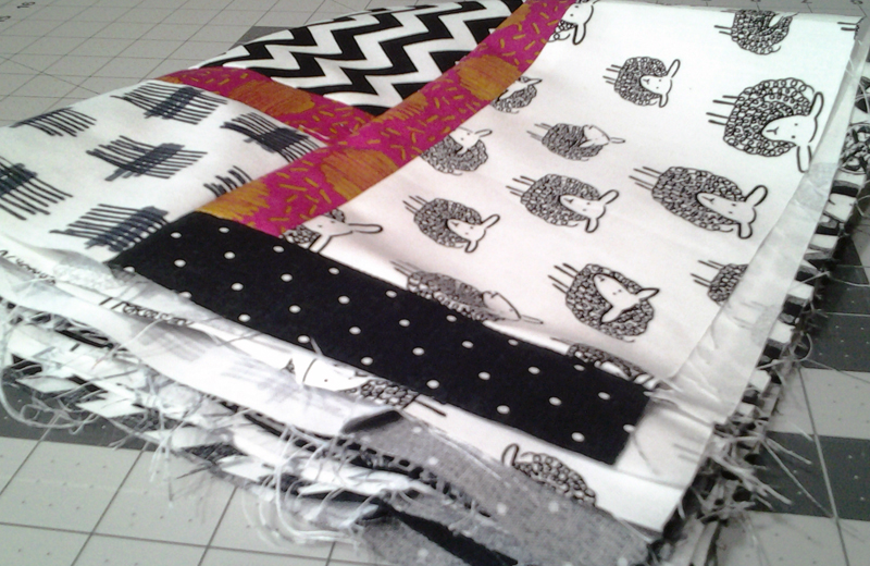 Modern Black, White & Pink Batik Baby Quilt, Modern Black & White Quilt