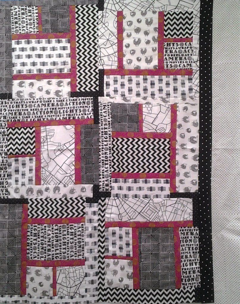 Modern Black, White & Pink Batik Crib Quilt, Modern Black & White Quilt_Modern Black, White & Bold