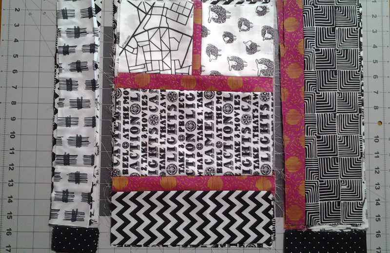 Cutting Layout for Modern Black, White & Pink Batik Quilt Block_Modern Black & White Quilt block