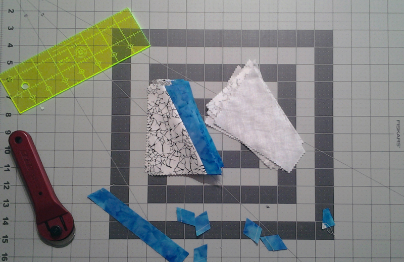 Photo Flip 2nd side of Black & White fabric pieces over to sew to contrast strip