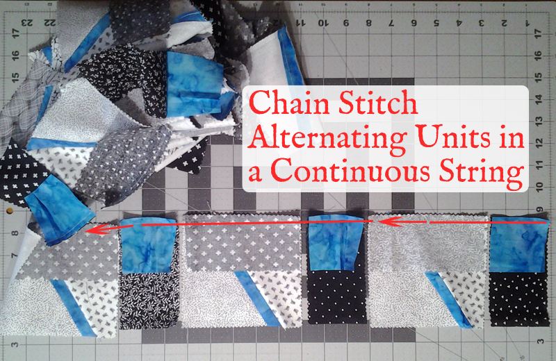 With CallOut_Modern Improv Black White & Turquoise Quilt Block Pieces after first assembly step indicating chain stitching method