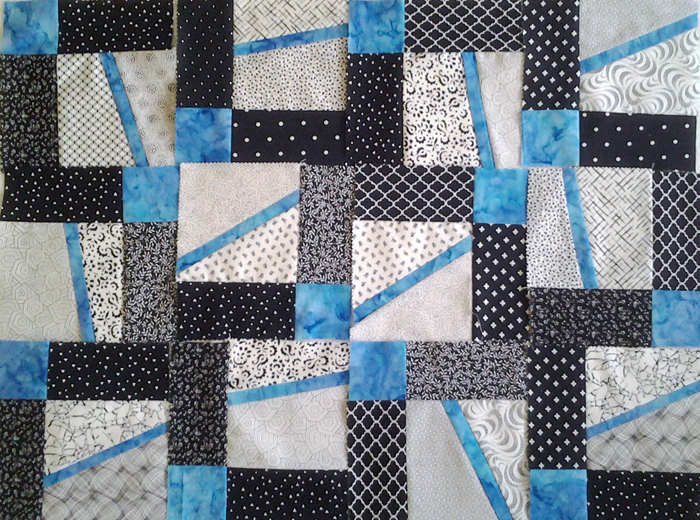 Photo Layout 1_Modern Improv Black White and Turquoise Quilt