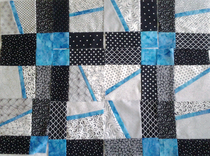 Photo Layout 2_Modern Improv Black White and Turquoise Quilt
