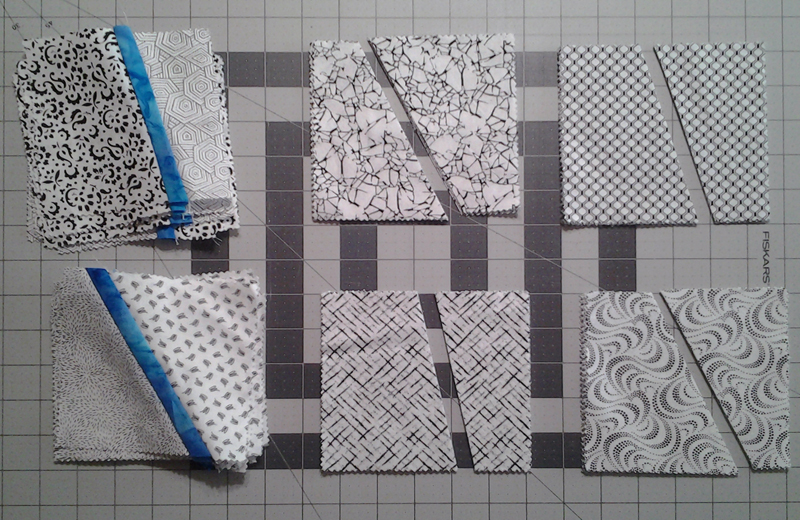 Photo Black & White fabric pairs demonstrates improv cuts