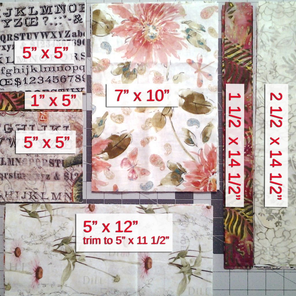 Photo Final Block Layout with dimensions including batik strips