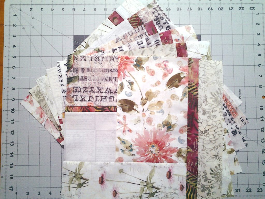 Photo First 6 blocks sewn and pressed_modern low volume & Batik quilt in floral prints