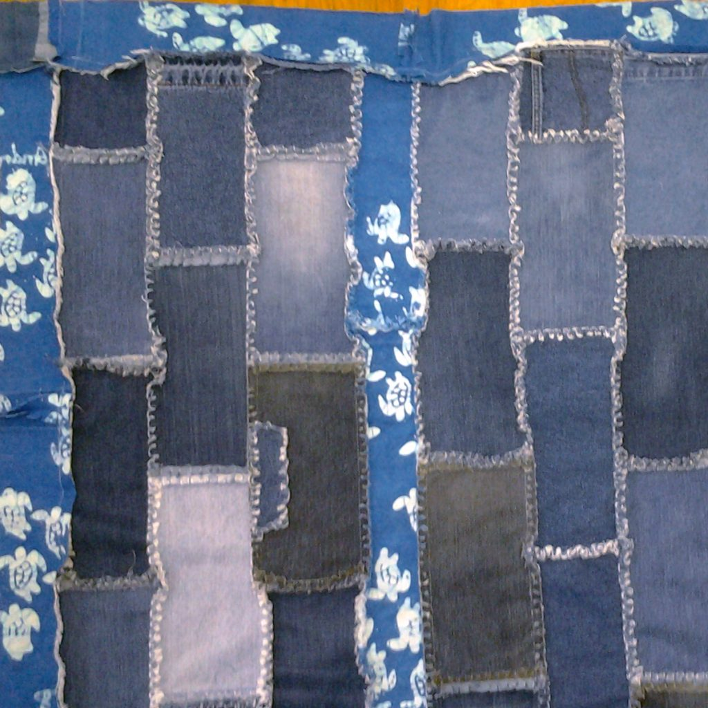 Photo of Blue Jean Rag Quilt with Finished Borders