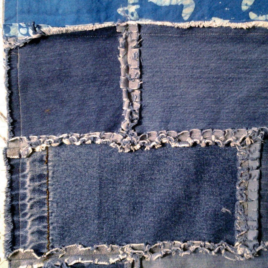 photo of Blue Jean Rag Quilt wBorders