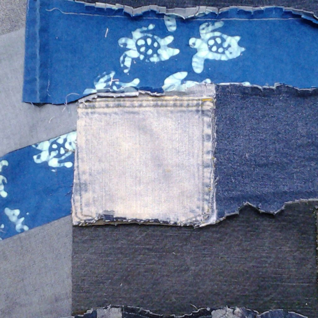 """Photo of Suggested tips for adding 6"""" pocket blocks to a blue jean rag quilt"""