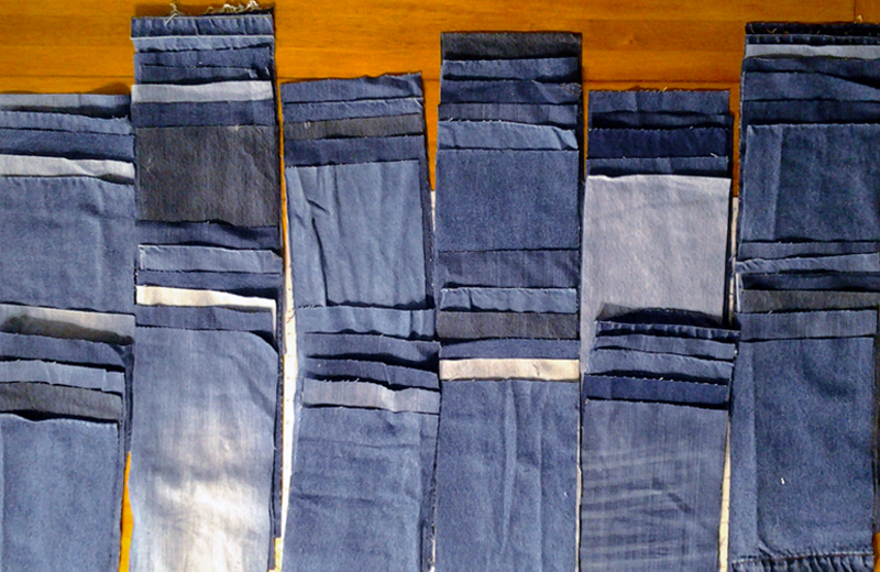 Photo of How to layout blocks for a blue jean rag quilt