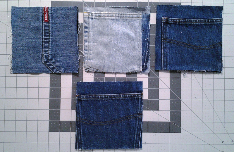 Photo of cutting pocket blocks for a blue jean quilt