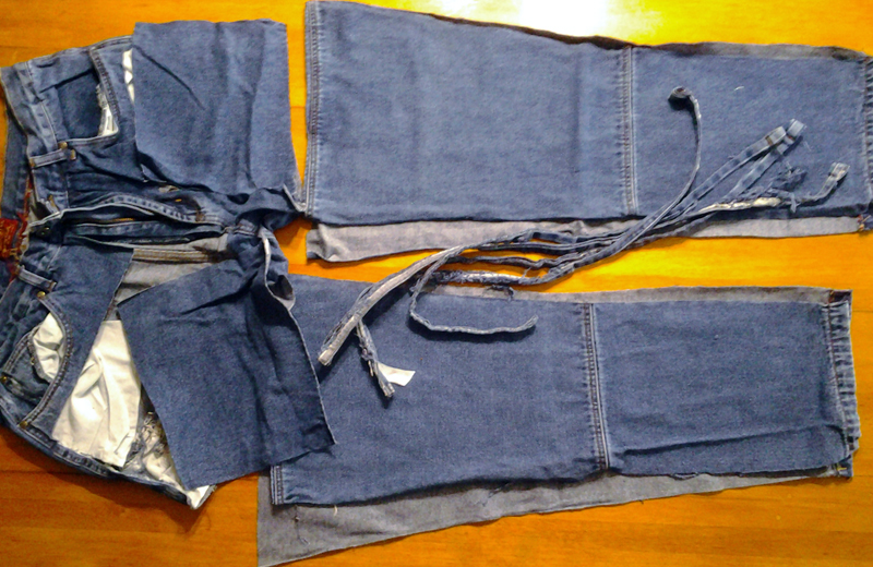 Photo of Blue Jeans cut into largest sections to make a single layer blue jean rag quilt