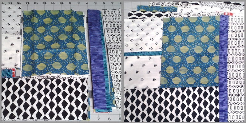 photo of Modern Fat Quarter Quilting Block Layout No3 Turquoise Dot Fabric