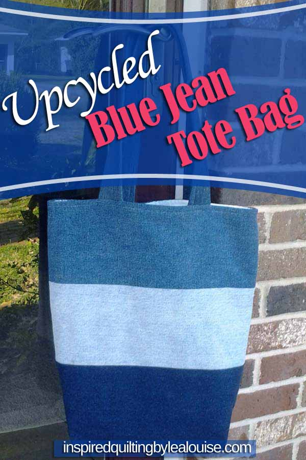 photo of denim tote bag made from old blue jeans
