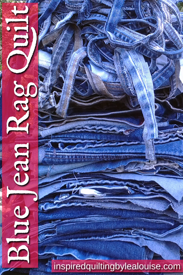 photo of Stack of blue jeans ready to make a denim rag quilt