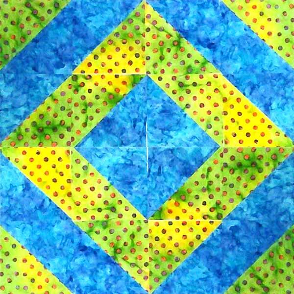 image of Batik HST Around the World HST Block layout