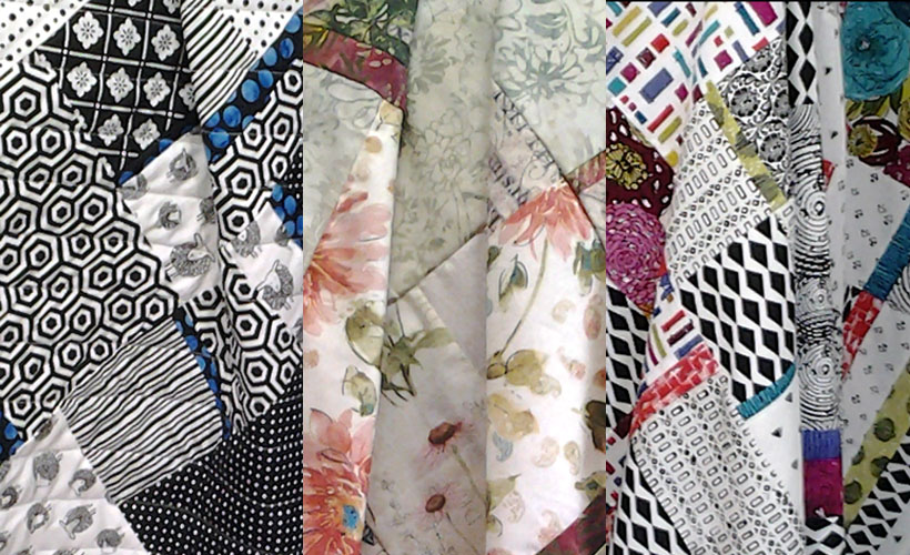 photo of Trio of Modern Fat Quarter Quilts made with 'All Blocked In' Pattern