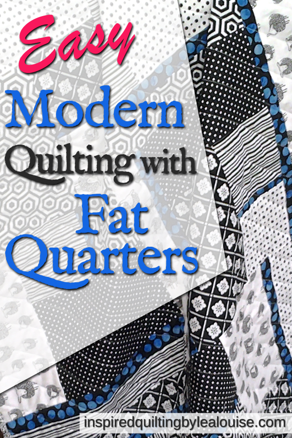 Modern Fat Quarter Quilt using Black, White & Batik Fabrics made with 'All Blocked In' Pattern Pinterest Image