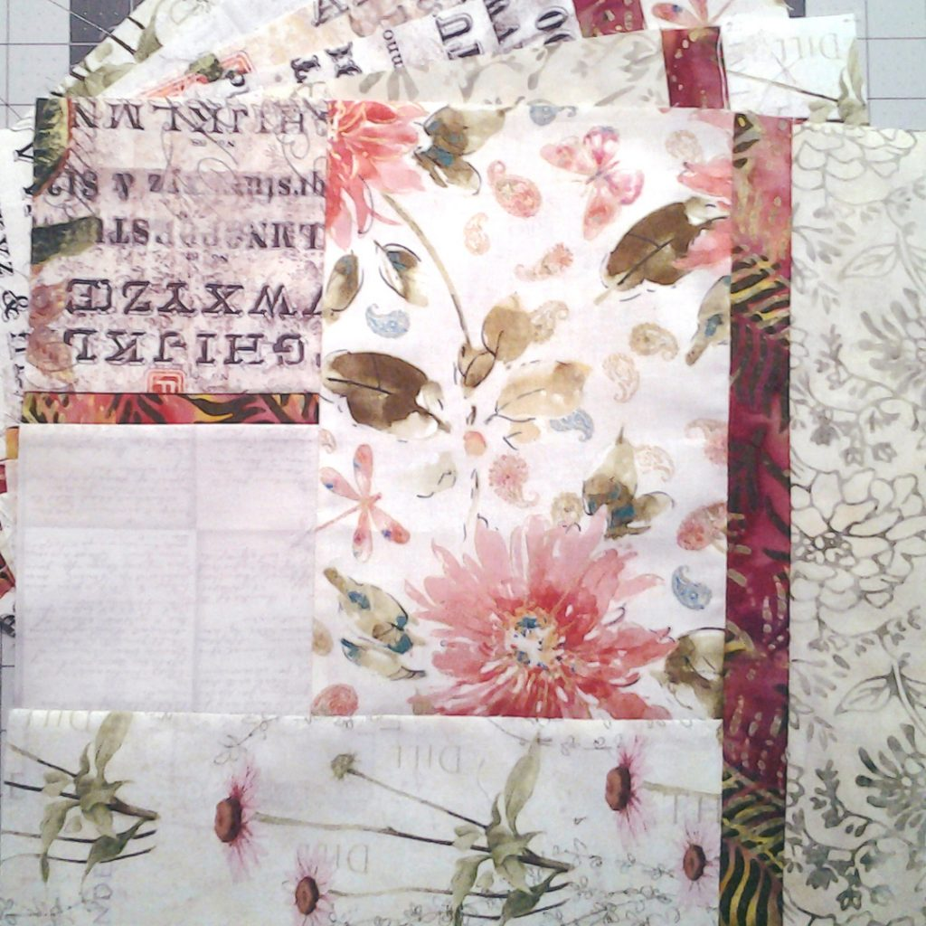 photo of Modern Fat Quarter Quilt with Low Volume Florals & Batik Fabrics