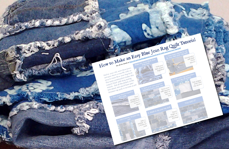 photo of how to make a blue jean rag quilt free pattern