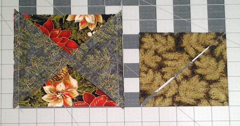 Photo of Center Block of Half Square Triangle Quilt