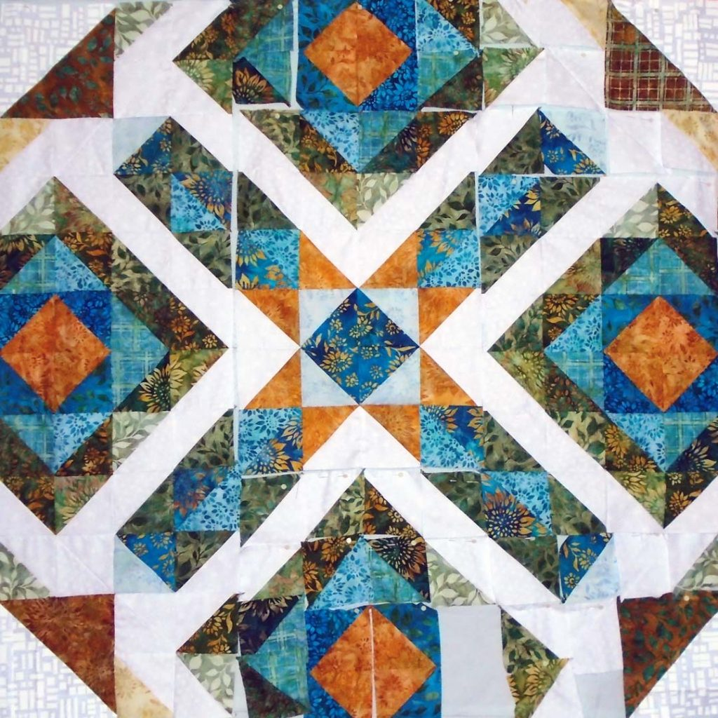 Photo of Modern HST Quilt on design wall