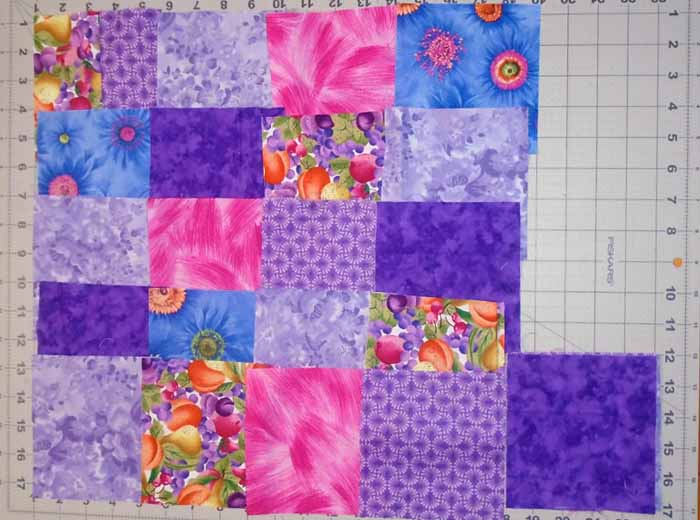 photo of Easy Patch Quilt 5 in Block Layout with Stacked Row