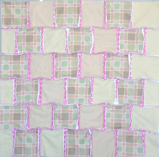 photo of Crib Size Rag Quilt Layout with offset seams