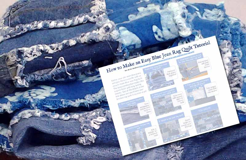 photo of Easy Blue Jean Rag Quilt Without Backing