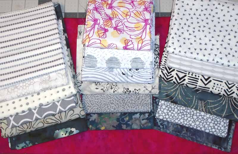 photo of Modern Fat Quarter Gray & Fuchsia Quilt Fabric Selection