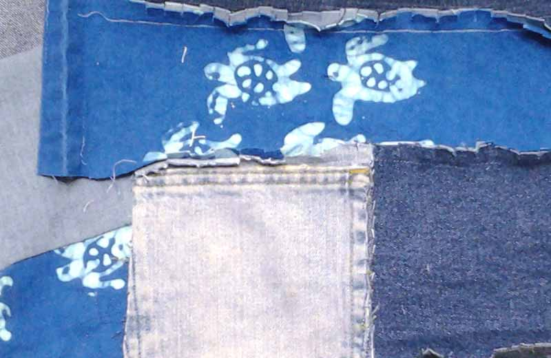 photo of Easy Blue Jean Rag Quilt without backing tips how to add pockets