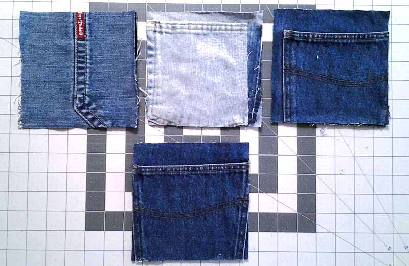 photo of Suggested tips for cutting pocket blocks for a blue jean rag quilt