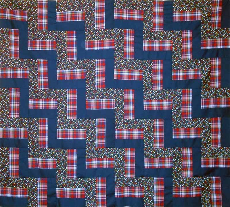 photo of completed Easy Rail Fence Baby Quilt Top