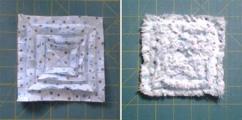 photo of How to make a Rag Quilt Border Rosette - Steps 6 & 7
