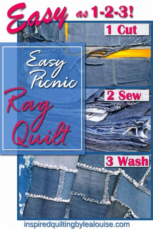 photo of Easy Picnic Blue Jean Rag Quilt