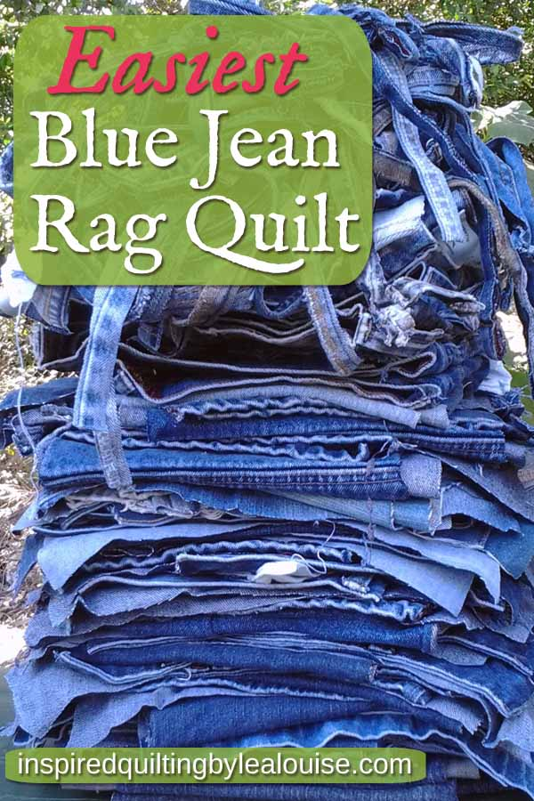 photo of Pinterest pin with a stack of recycled jeans