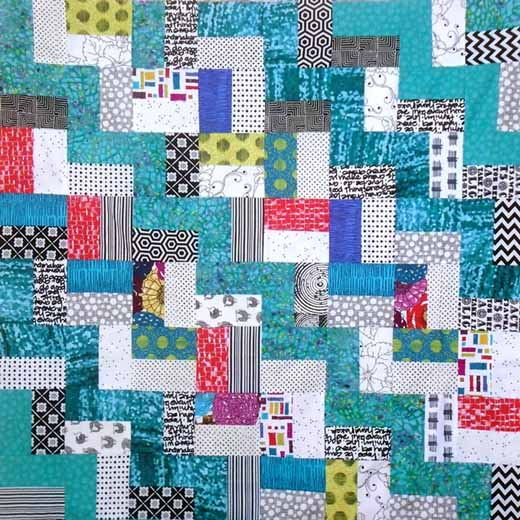 photo of easy rail fence quilt layout