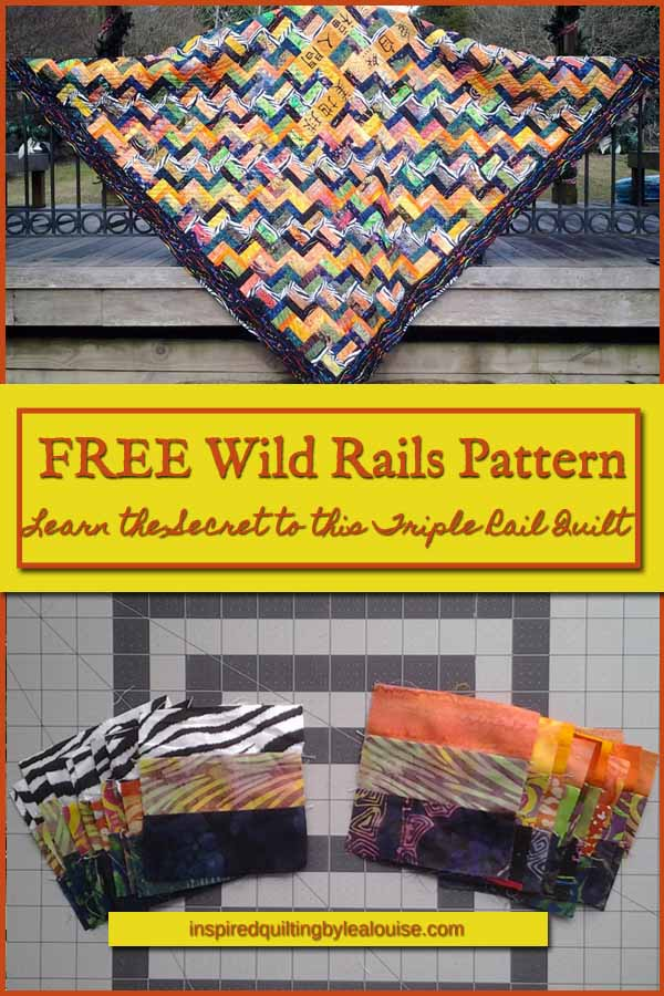 photo of triple rail fence quilt pattern pin